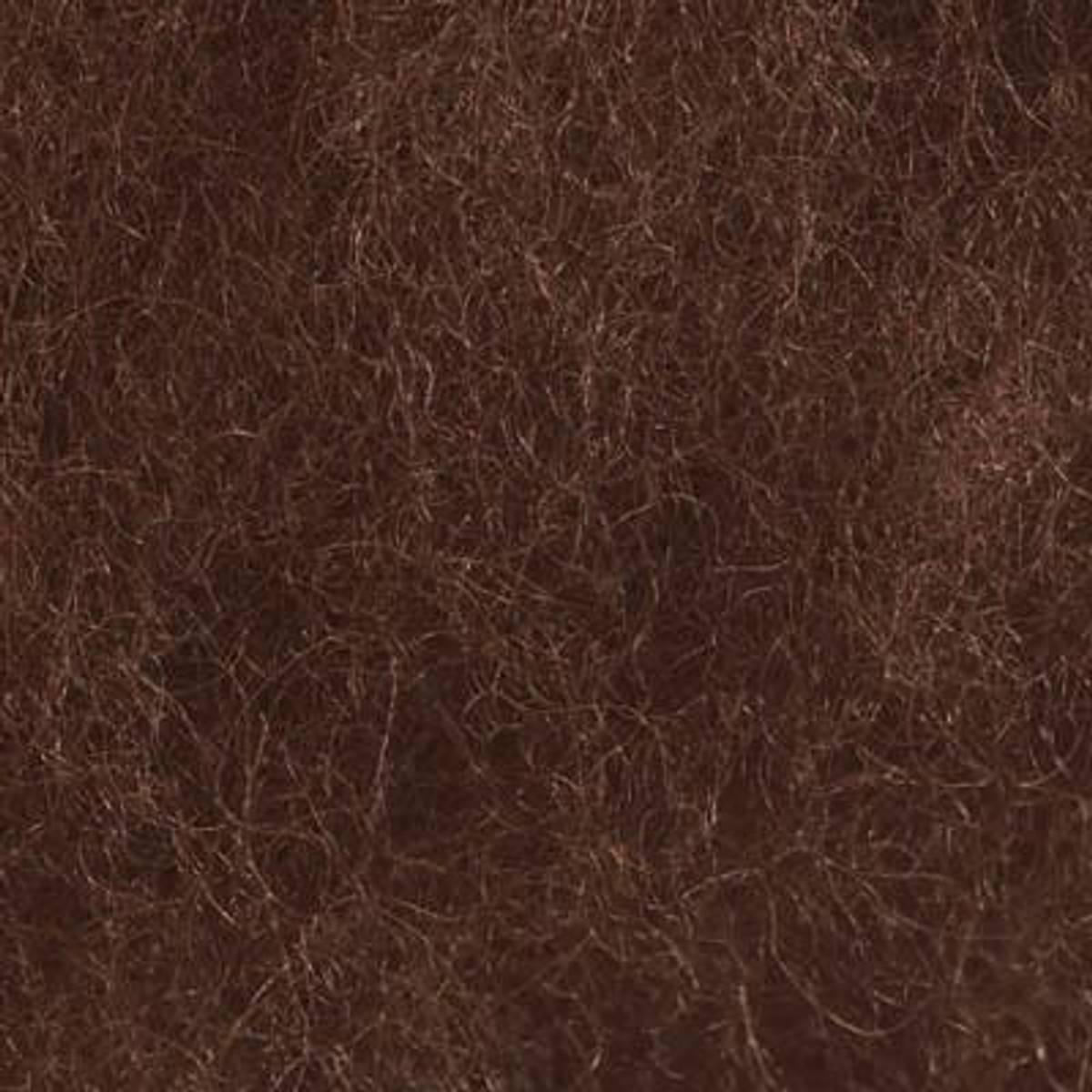 Kardet ull, brun 100g